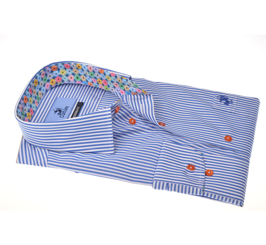 Overhemd Print Streep Blauw (215326 - 34)