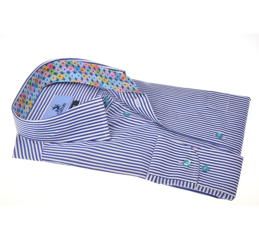 Overhemd Print Streep Donker Blauw (215326 - 37)