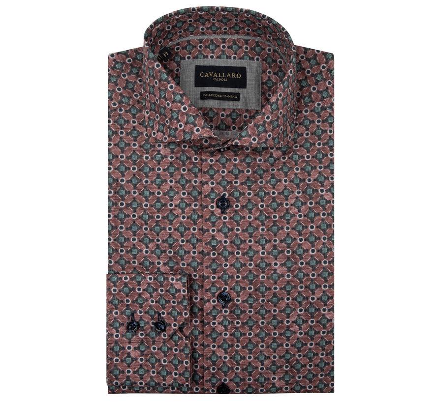 Overhemd Renzo Print Rood (110205001 - 450007)