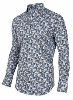 Cavallaro Napoli Overhemd Florando Print Navy Blauw (110205002 - 699007)