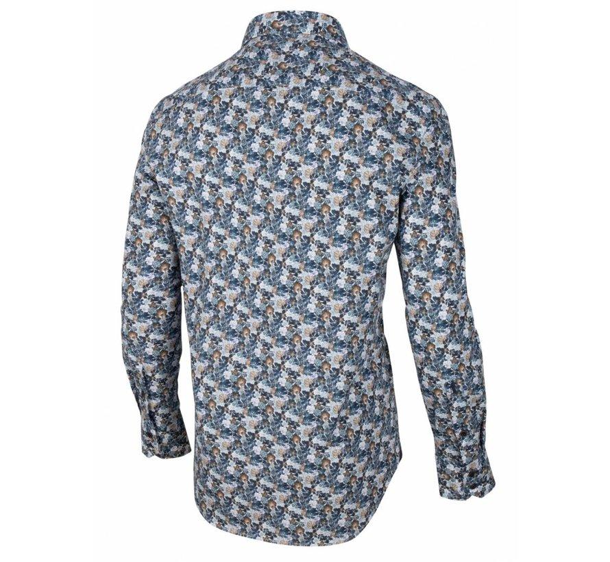 Overhemd Florando Print Navy Blauw (110205002 - 699007)