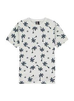 Kultivate T-shirt Ronde Hals Blue Palms Print Wit (2001020214 - 203)