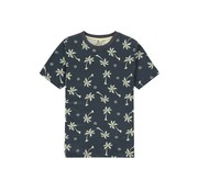 Kultivate T-shirt Ronde Hals Blue Palms Print Graphite (2001020214 - 445)