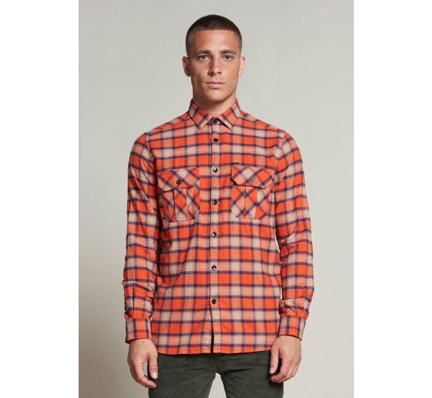Overhemd Washed Check Flannel Oranje (303374 - 439)