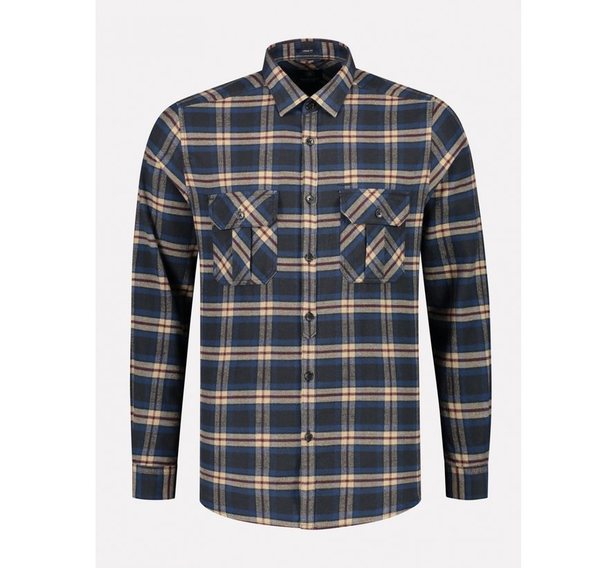 Overhemd Washed Check Flannel Navy (303374 - 649)