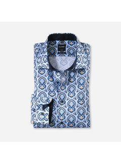 Olymp Overhemd Luxor Modern Fit Print Blauw (1278 64 53)