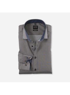 Olymp Overhemd Level 5 Body Fit Print Navy Blauw (2042 64 27)