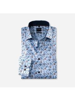 Olymp Overhemd Level 5 Body Fit Print Blauw (2138 64 27)