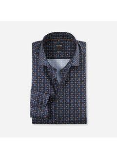 Olymp Overhemd Level 5 Body Fit Print Navy Blauw (2144 64 27)