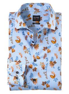 Olymp Overhemd Level 5 Body Fit Print Navy Blauw (2062 64 53)