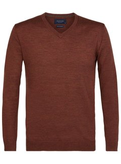 Profuomo Pullover V-Hals Merino Wol Roest Bruin (PPRJ3A0135)N