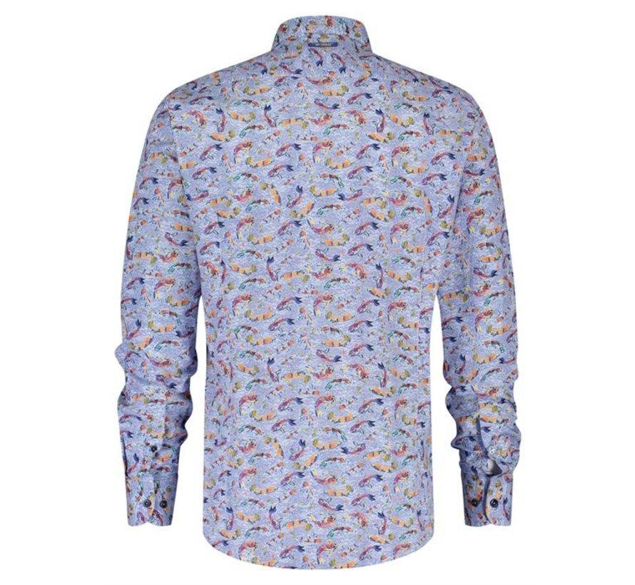 Overhemd Fish Art Fishes Lichtblauw (21.02.035)N