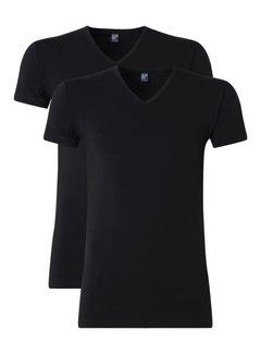 Alan Red T-shirt Oklahoma 2-Pack Stretch V-Hals Zwart (6681)