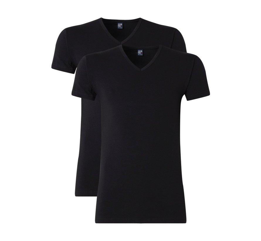 T-shirt Oklahoma 2-Pack Stretch V-Hals Zwart (6681)