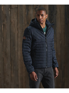 Superdry Winterjas met Capuchon Tweed Mix Fuji Navy (M5010338A - RBK)