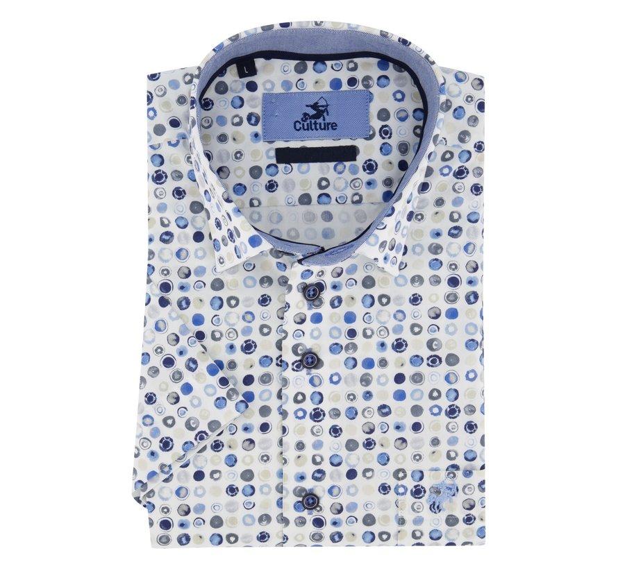 Overhemd Korte Mouw Print Wit (215250 - 33)