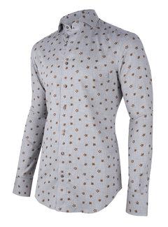 Cavallaro Napoli Overhemd Ferrano Print Grijs (110205035 - 950005)