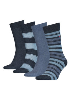 Tommy Hilfiger Sokken 4-pack Giftbox Tin Stripe Blauw (100000845 - 001)