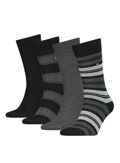 Tommy Hilfiger Sokken 4-pack Giftbox Tin Stripe Zwart (100000845 - 003)