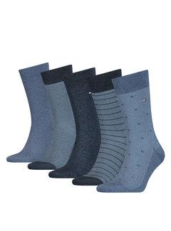 Tommy Hilfiger Sokken 5-pack Giftbox Blauw (100000846 - 001)