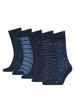 Tommy Hilfiger Sokken 5-pack Giftbox Fine Stripe Dark Navy (100000847 - 002)N