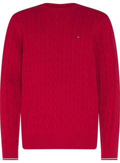 Tommy Hilfiger Trui Organic Cotton Cable Rood (MW0MW13382 - XT1)