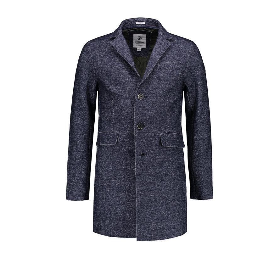 Coat Herringbone Wool Navy (101214 - 650)