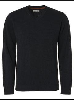 No Excess Pullover V-Hals Jacquard Night Blauw (97210903 - 078)
