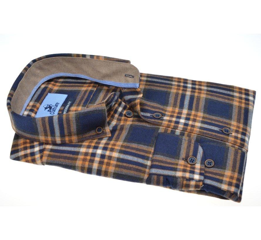 Overhemd Modern Fit Flannel Oker Geel (514003 - 95)