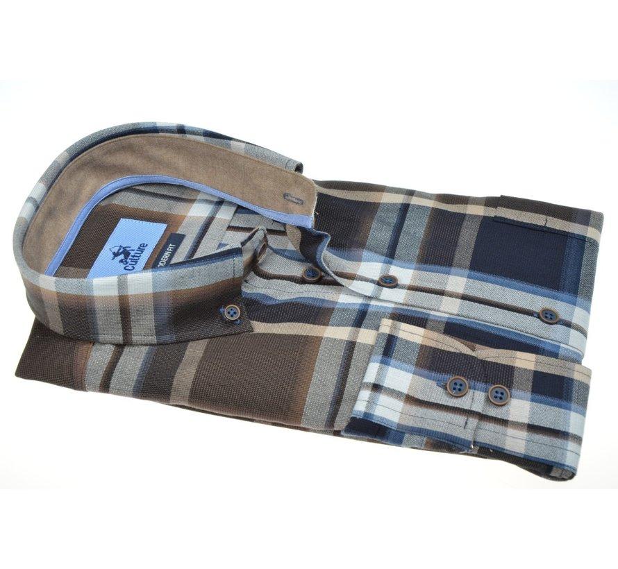 Overhemd Modern Fit Ruit Bruin (514012 - 46)