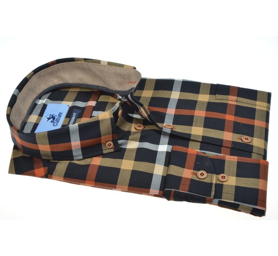 Overhemd Modern Fit Ruit Geel/Oranje (514015 - 20)