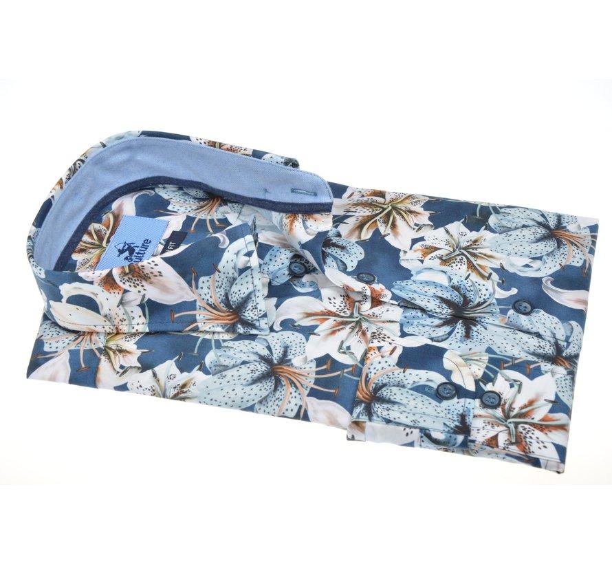 Overhemd Modern Fit Print Bloemen Blauw (514035 - 38)