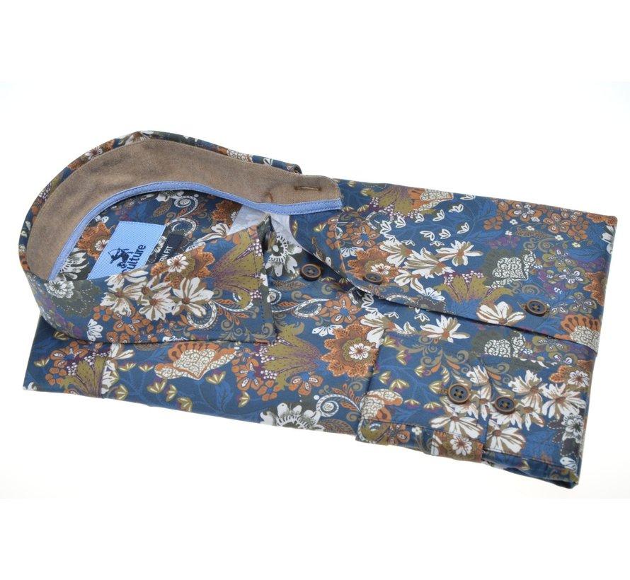 Overhemd Modern Fit Print Bloemen Blauw (514038 - 37)