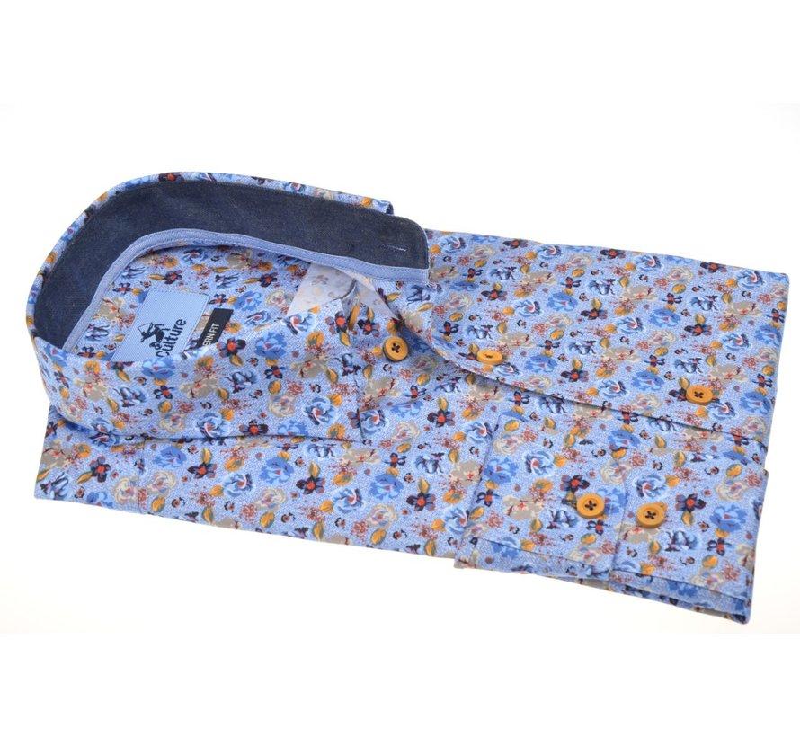 Overhemd Modern Fit Print Lichtblauw (514045 - 33)