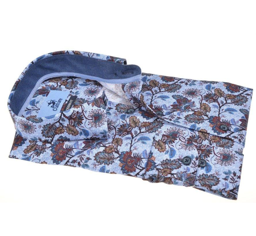 Overhemd Modern Fit Bloemen Lichtblauw (514047 - 32)