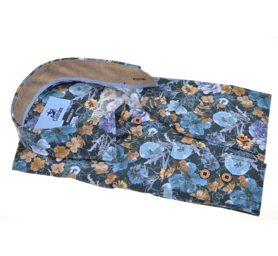 Overhemd Modern Fit Print Bloemen Multicolor (514054 - 36)