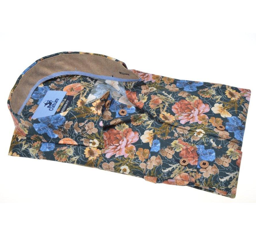 Overhemd Modern Fit Print Bloemen Multicolor (514054 - 84)