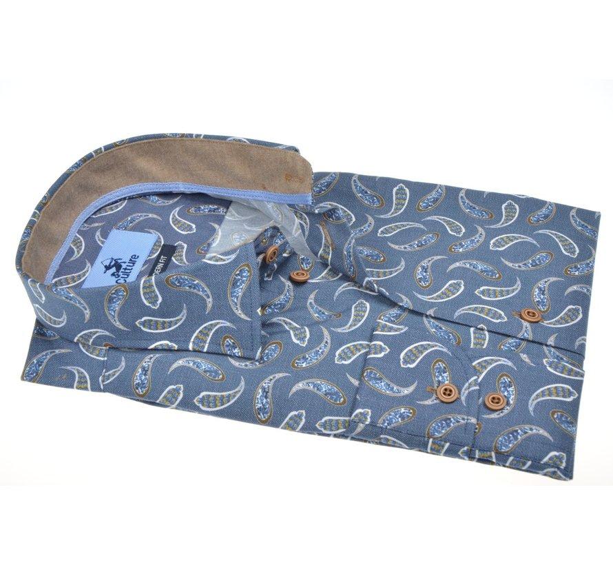Overhemd Modern Fit Print Blauw (514055 - 38)