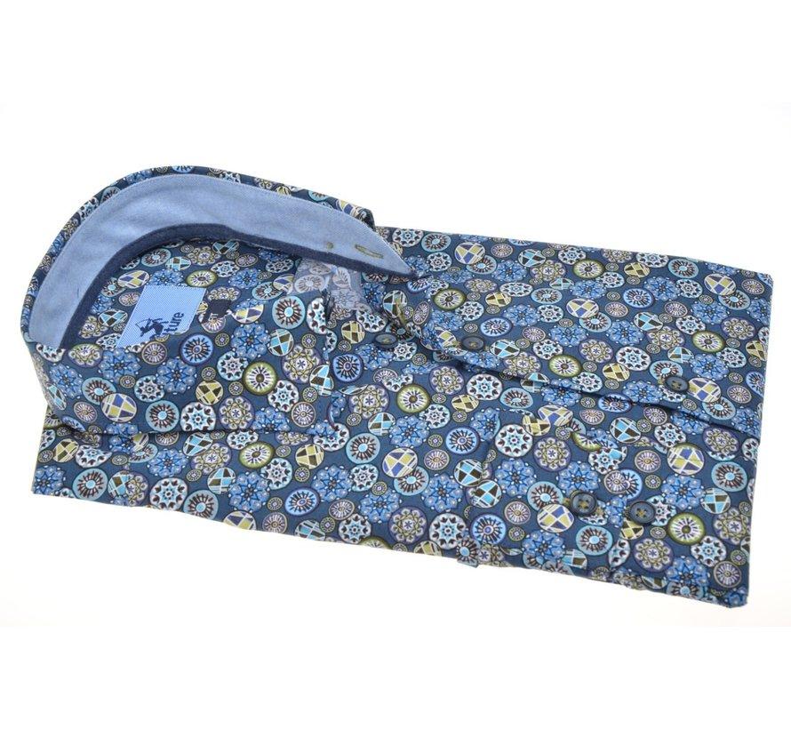 Overhemd Modern Fit Print Blauw (514066 - 36)