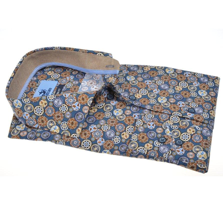 Overhemd Modern Fit Print Blauw (514068 - 44)