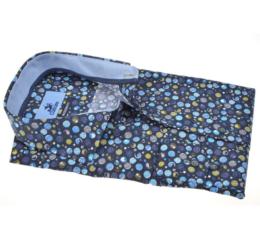 Overhemd Modern Fit Print Blauw (514070 - 38)