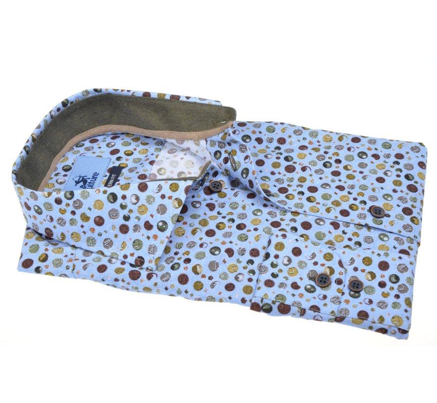Overhemd Modern Fit Print Lichtblauw (514072 - 32)