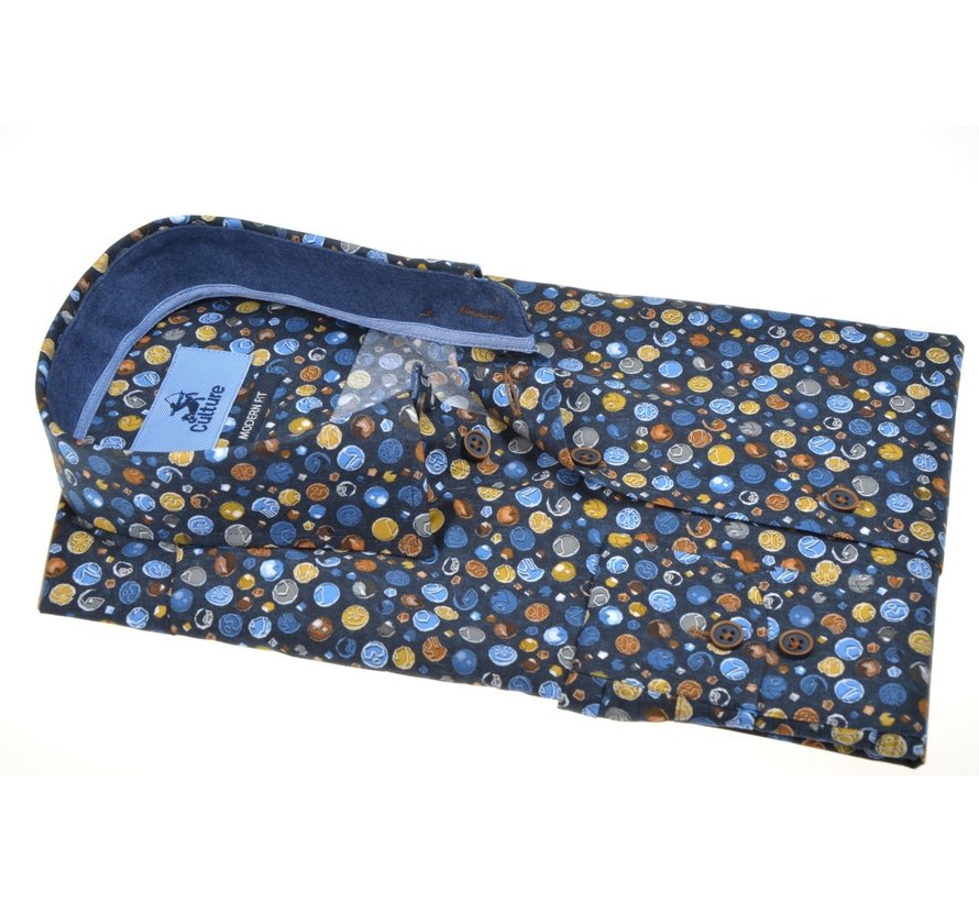 Overhemd Modern Fit Print Blauw (514073 - 38)