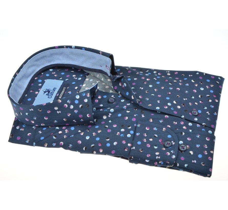 Overhemd Modern Fit Print Navy (514081 - 38)