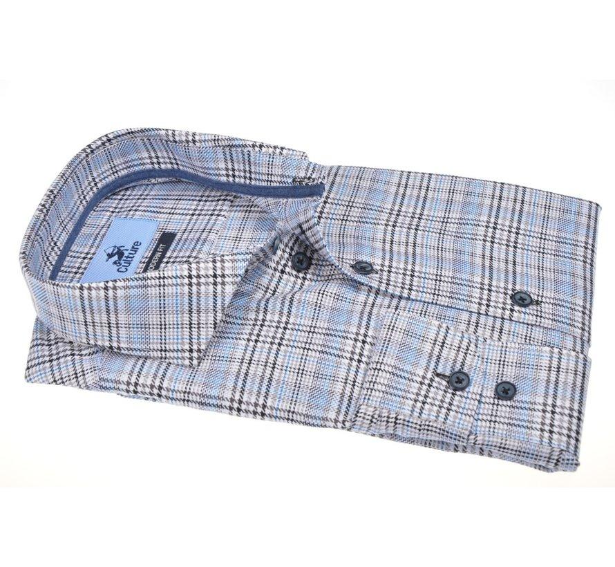 Overhemd Modern Fit Ruit Lichtblauw (514153 - 15)