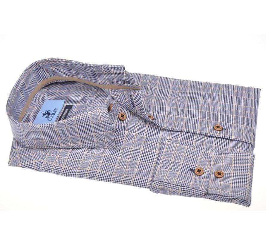 Overhemd Modern Fit Ruit Blauw (514154 - 38)