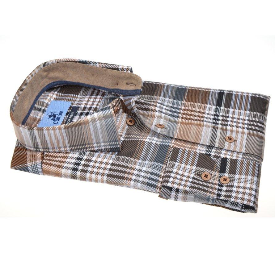 Overhemd Modern Fit Ruit Bruin (514158 - 43)