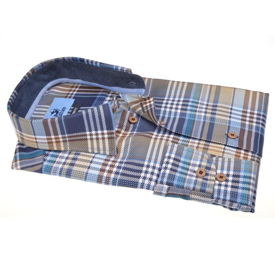 Overhemd Modern Fit Ruit Blauw (514158 - 33)