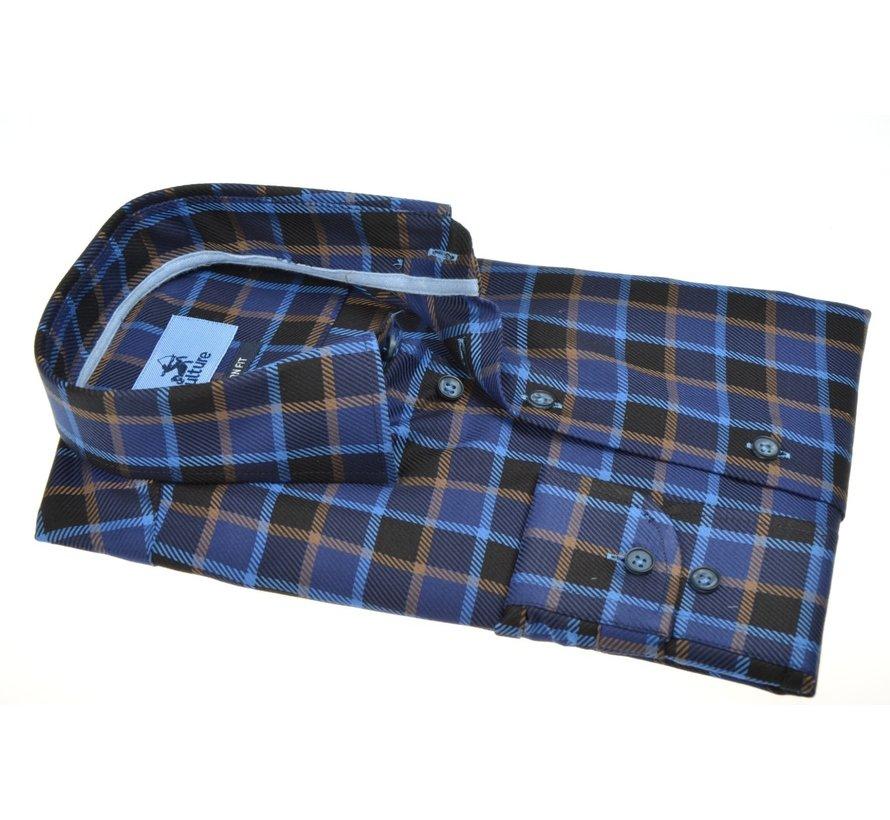 Overhemd Modern Fit Ruit Blauw (514164 - 44)