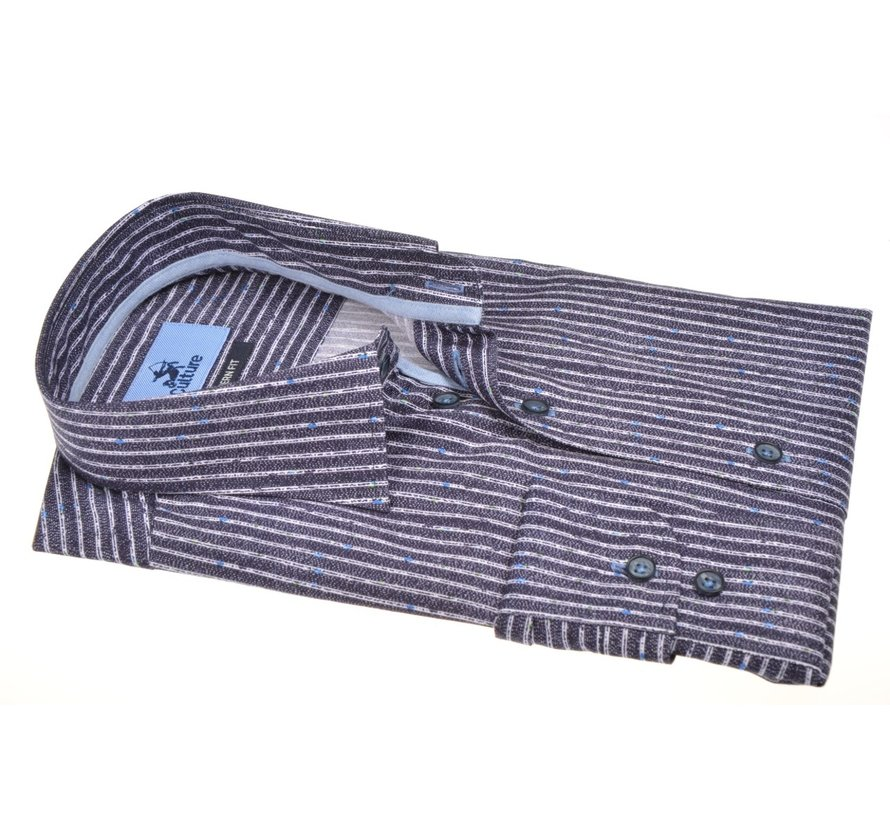 Overhemd Modern Fit Streep Navy (514166 - 38)